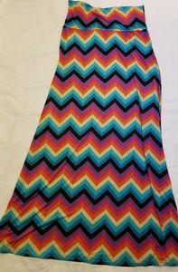 MOA USA Mulit Colored Rainbow Chevron Maxi Skirt